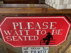 """Wood Sign """"Please Wait to be Seated"""" 24""""W x 13""""H"""
