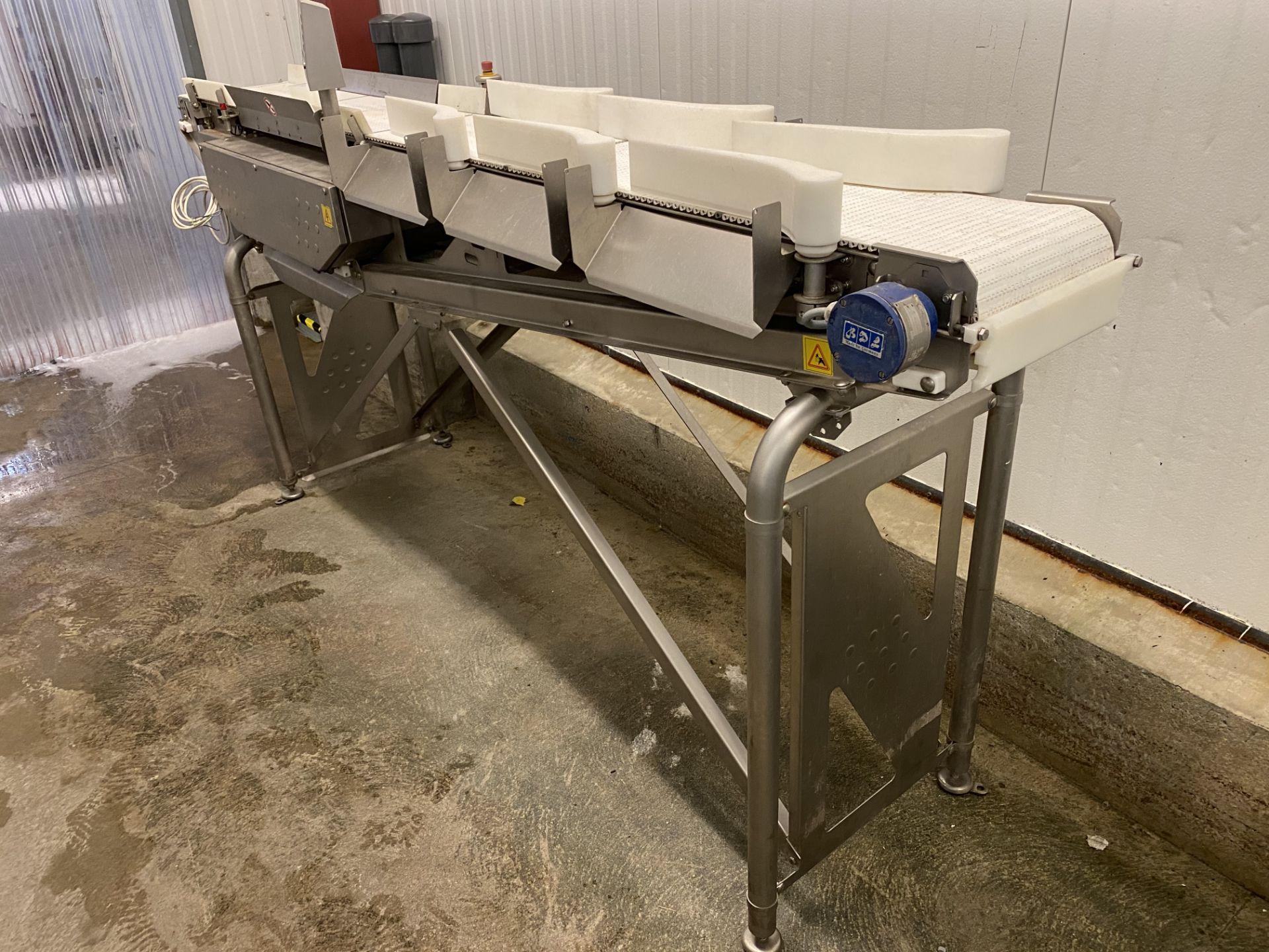 "Marel Sorter/ Grader, in Motion Weighing Conveyor belt system w/ Out Feed Rollers 12""x144"" Belt"