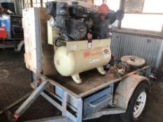 Lot Comprising of Unknown Make Trailer, w/ Ingersoll Rand 30 Gal Gas Powered Air Compressor, s/n