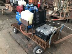 Lot Comprising of Unknown Make Trailer, w/ Jenny 30 Gal Gas Powered Air Compressor, s/n