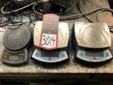 Lot Comprising of (2) OHAUS Digital Portable Electric Balance Scales, and (1) OHAUS CS-2000