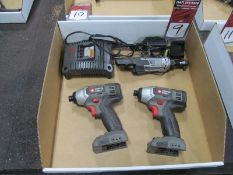 """(2) Porter Cable #PC1801ID Cordless Drivers w/ (1) Ingersoll Rand R1130 3/8"""" Cordless Ratchet"""
