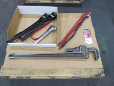 """36"""" Ridged Pipe Wrench w/ 3"""" Reed Chain Wrench & Assorted Strap Wrenches"""