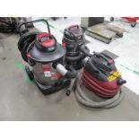 (3) Wet/Dry Vacuums, (1) Shop-Vac #SS16-SQ650, (1) Shop-Vac #CH87-650C, (1) Craftsman #125.17608