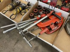 Lot Comprising Ridgid Dies, Handles, Pipe Cutters, and Pipe Reamer