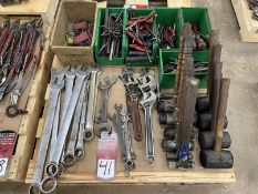 Lot of Assorted Hand Tools Including Adjustable Wrenches, Combination Wrenches, Allen Keys, T-