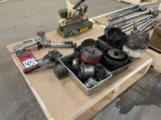 Lot Comprising Belton B20S Pneumatic Sander, Hole Saws, and Di-ACRO No. 1 Shear