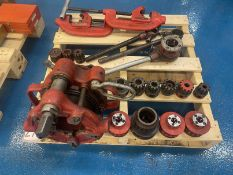 Lot Comprising RIDGID Threading Head, Assorted Dies, and Pipe Cutters