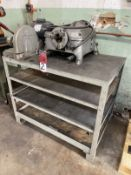 Lot Comprising RIDGID 400 Pipe Threader, s/n 402923, w/ DoALL Cutoff Saw Mounted on Steel Bench