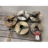 """Lot of (5) Chucks, (1) 10.5"""" 3-Jaw and (4) 12"""" 3 and 4 Jaw"""