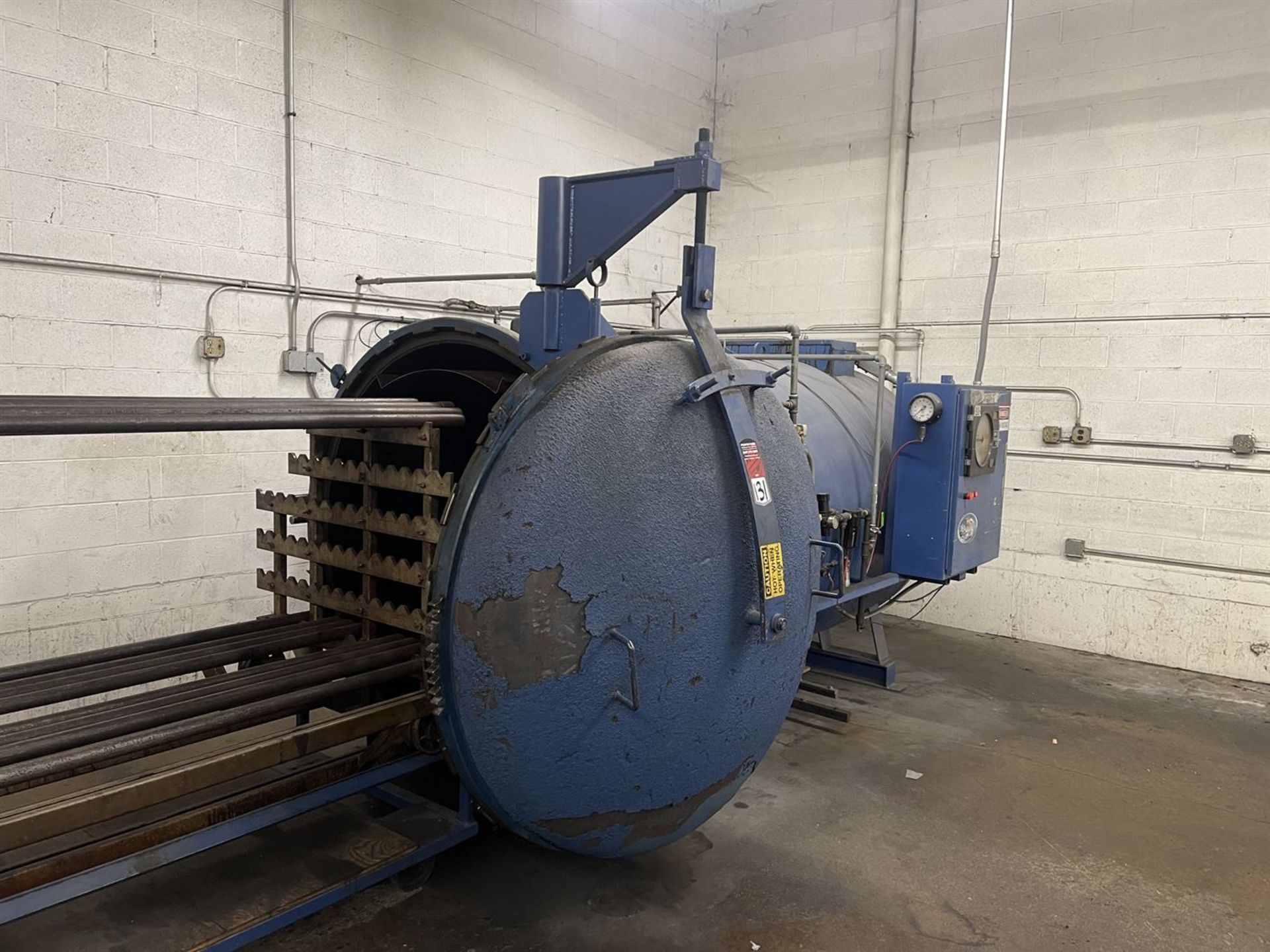"""Autoclave, Approx. 60"""" Dia x 10' Enclosure, w/ (2) Loading Carts - Image 2 of 5"""
