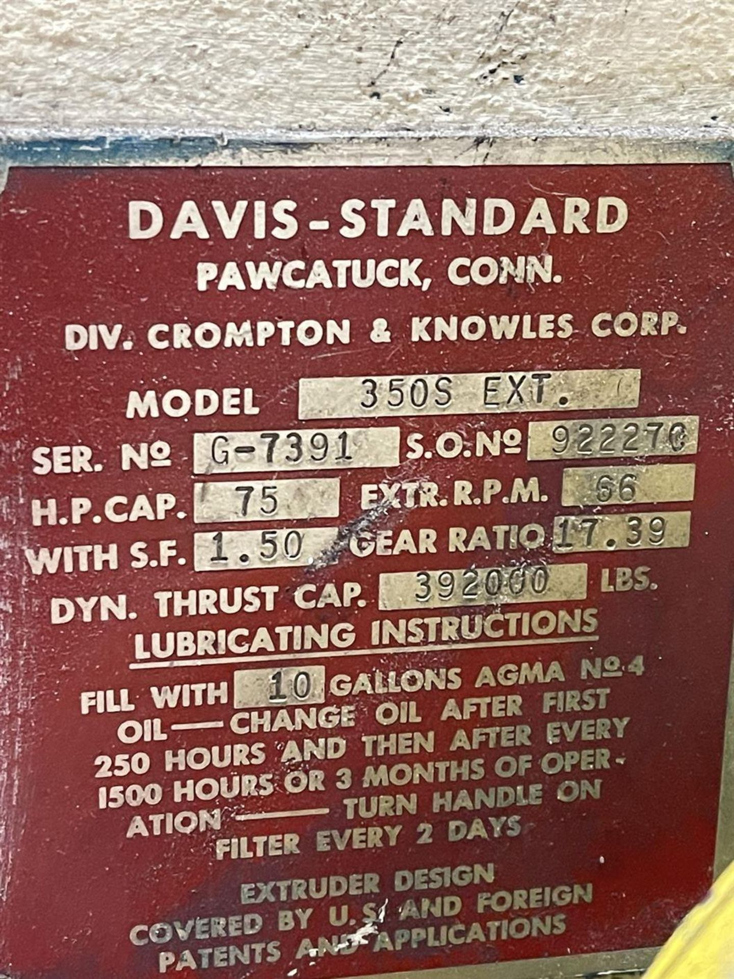 """DAVIS-STANDARD 350S 3.5"""" Extruder, s/n G-7391, 35IN35, 17.39 Gear Ratio, 75HP, 66 RPM, (Side Head - Image 6 of 7"""