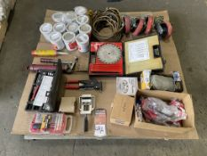Lot Comprising Rivet Setter, Magnetic Parts Holder, Saw Blades, Extension Cords, Adhesive, and