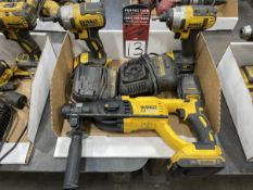 """Lot of (2) DEWALT 20V Cordless 1/4"""" Impact Drivers, DEWALT DCH133 Brushless Rotary Hammer w/ Charger"""