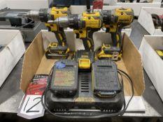 Lot of (3) DEWALT DCD791 20V Drills w/ Charger and Batteries