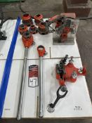 Lot of Assorted RIDGID Pipe Dies and Pipe Vises