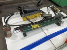 Lot Comprising SIMPLEX Hydraulic Pump, w/ ENERPAC and EAGLE Hydraulic Bottle Jacks
