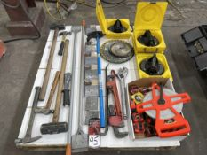 Lot Comprising Hammers, Scrapers, Suction Cups, Tube Bender, Pipe Wrenches and Tape Measures