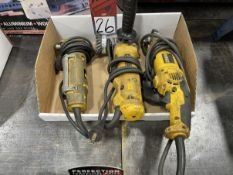 """Lot of (2) DEWALT 4"""" Angle Grinders and (1) DEWALT DW160 3/8"""" Right Angle Drill"""