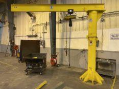 1/2 Ton Free Standing Jib Crane, Approx. 12' Reach x 10' Under Rail, w/ Budgit 1/2 Ton Hoist w/