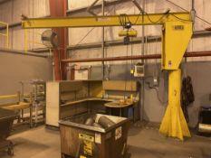 ABEL 1/2 Ton Free Standing Jib Crane, Approx. 14' Reach x 11' Under Rail, w/ Budgit 1/2 Ton Hoist w/