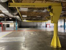 1/2 Ton Free Standing Jib Crane, Approx. 11' Under Rail x 11' Reach, w/ Budgit 1/2 Ton Electric