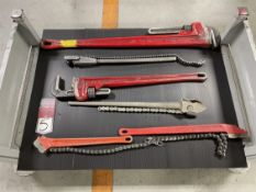Lot Comprising Assorted Pipe Wrenches and Chain Wrenches