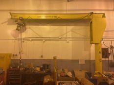 1/2 Ton Free Standing Jib Crane, Approx. 12' Under Rail x 14' Reach, w/ Coffing 1/2 Ton Electric