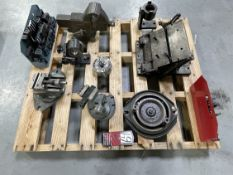 Pallet Comprising Angle Vises, Hold Down Tooling, Tilting Angle Plate and Various Fixtures