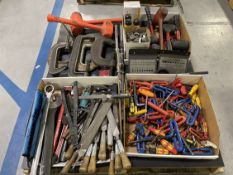 Lot Comprising Assorted Hand Tools Including Hammers, Files, Wrenches, Hex Wrenches and Clamps