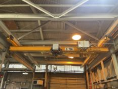 KONE CRANE Single Girder 5-Ton Bridge Crane, s/n 100478484, 23' Span, w/ Kone Crane Electric Hoist