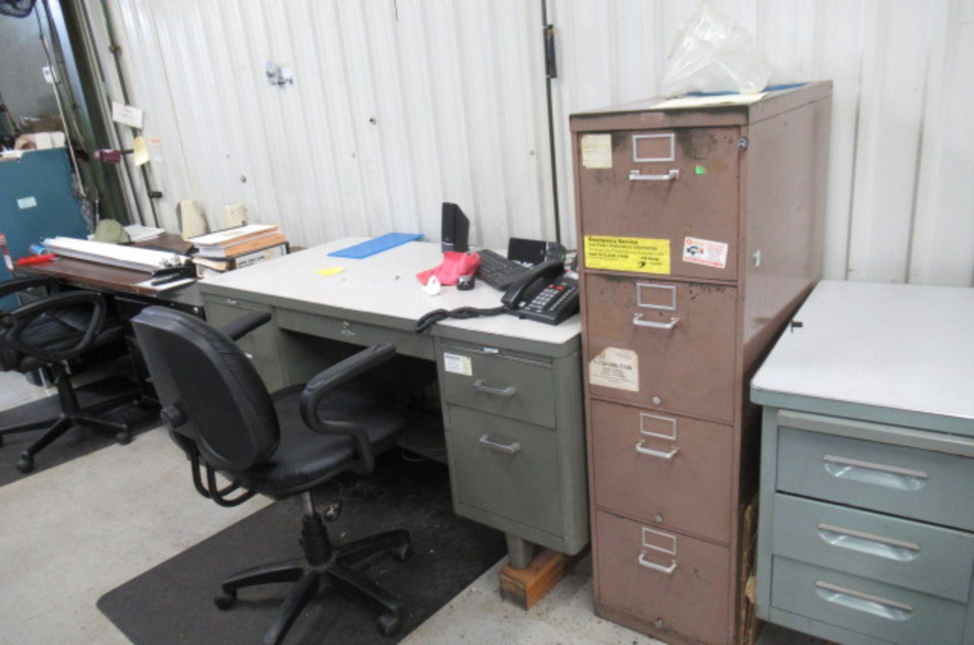 parts cage area 6 desks, 3 file cabinets, 2 Dell monitors, 3 key boards