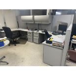 Lot of (4) Cubicles/Desks w/ Chairs