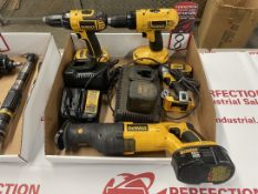 Lot Comprising Assorted DEWALT Cordless Drill, Chargers and Batteries