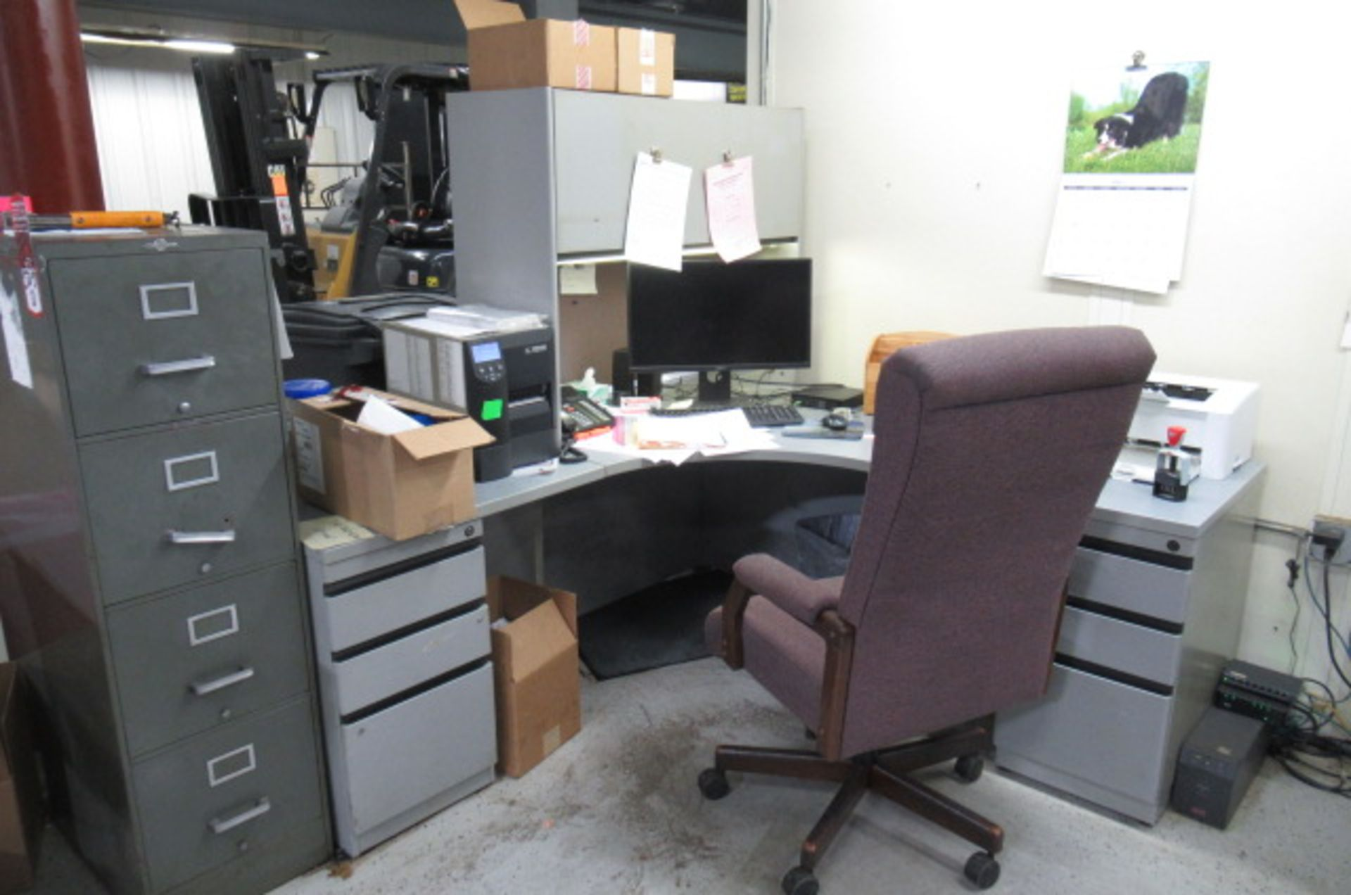 Shipping Area L shape Desk, File cabinet, Caning Copier, 2-sm tales, 3 Drawer Cabinet - Image 2 of 5