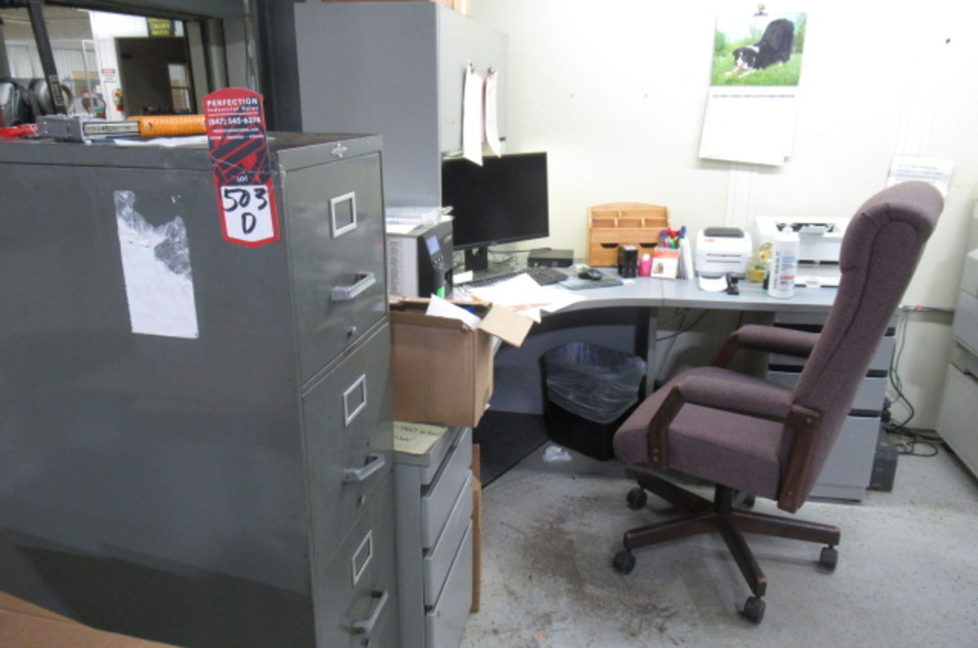 Shipping Area L shape Desk, File cabinet, Caning Copier, 2-sm tales, 3 Drawer Cabinet