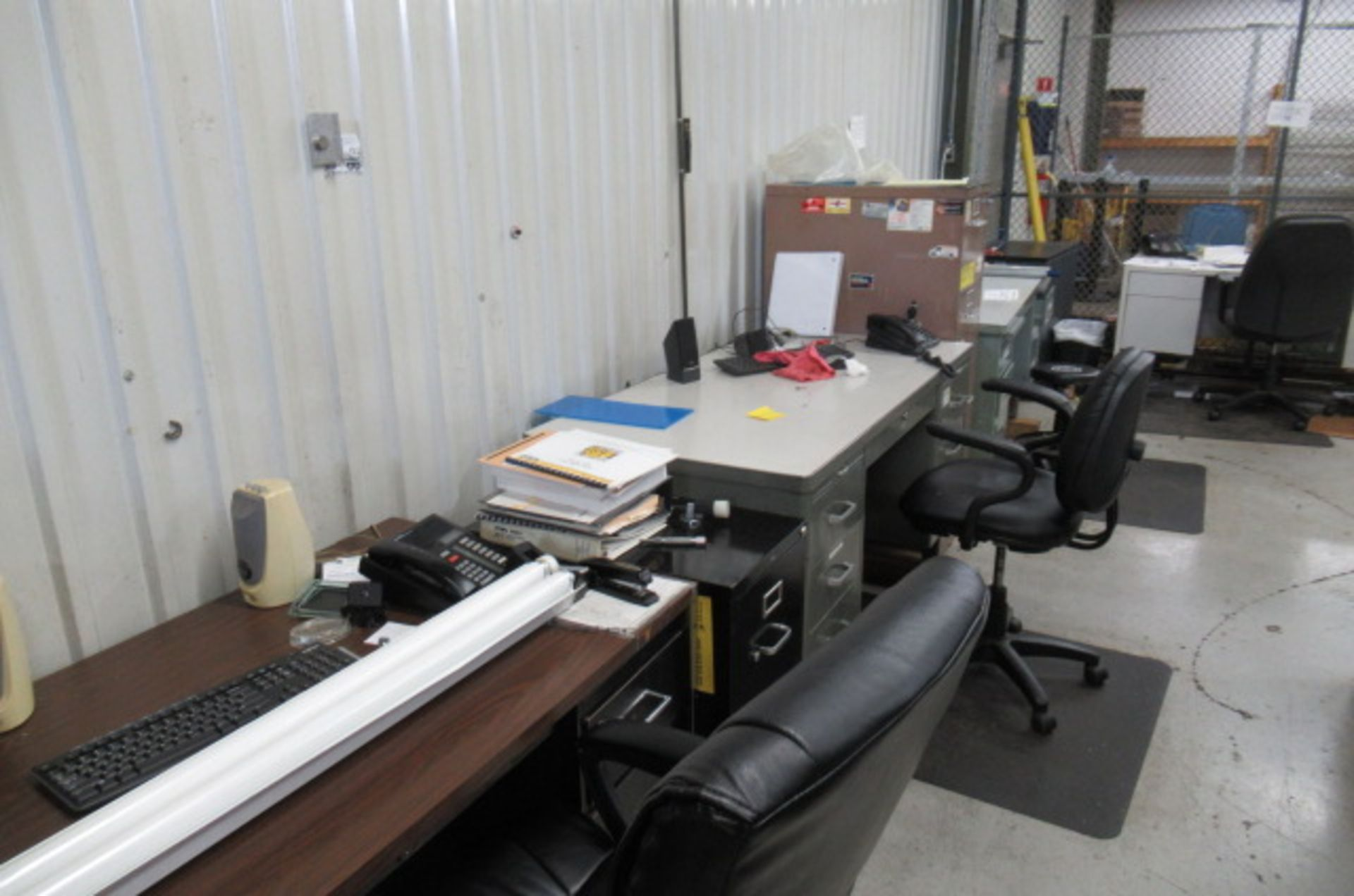 parts cage area 6 desks, 3 file cabinets, 2 Dell monitors, 3 key boards - Image 2 of 4