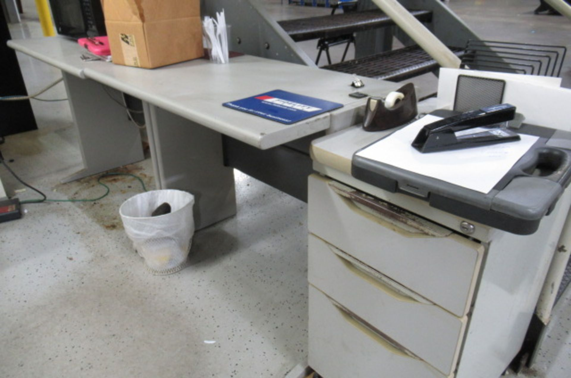 Shipping Area L shape Desk, File cabinet, Caning Copier, 2-sm tales, 3 Drawer Cabinet - Image 3 of 5