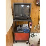 Rolling TV Cart w/ Toshiba TV and Combination VCR/DVD Player