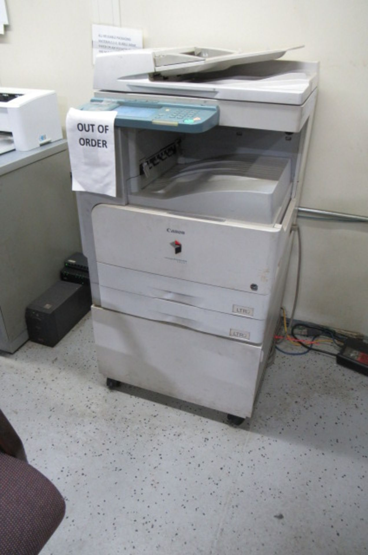 Shipping Area L shape Desk, File cabinet, Caning Copier, 2-sm tales, 3 Drawer Cabinet - Image 4 of 5