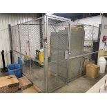 SPACEGUARD Custodial Cage w/ (2) 11'L Walls of Fencing w/ Locking Door, Shop Cabinet, Wood Rack