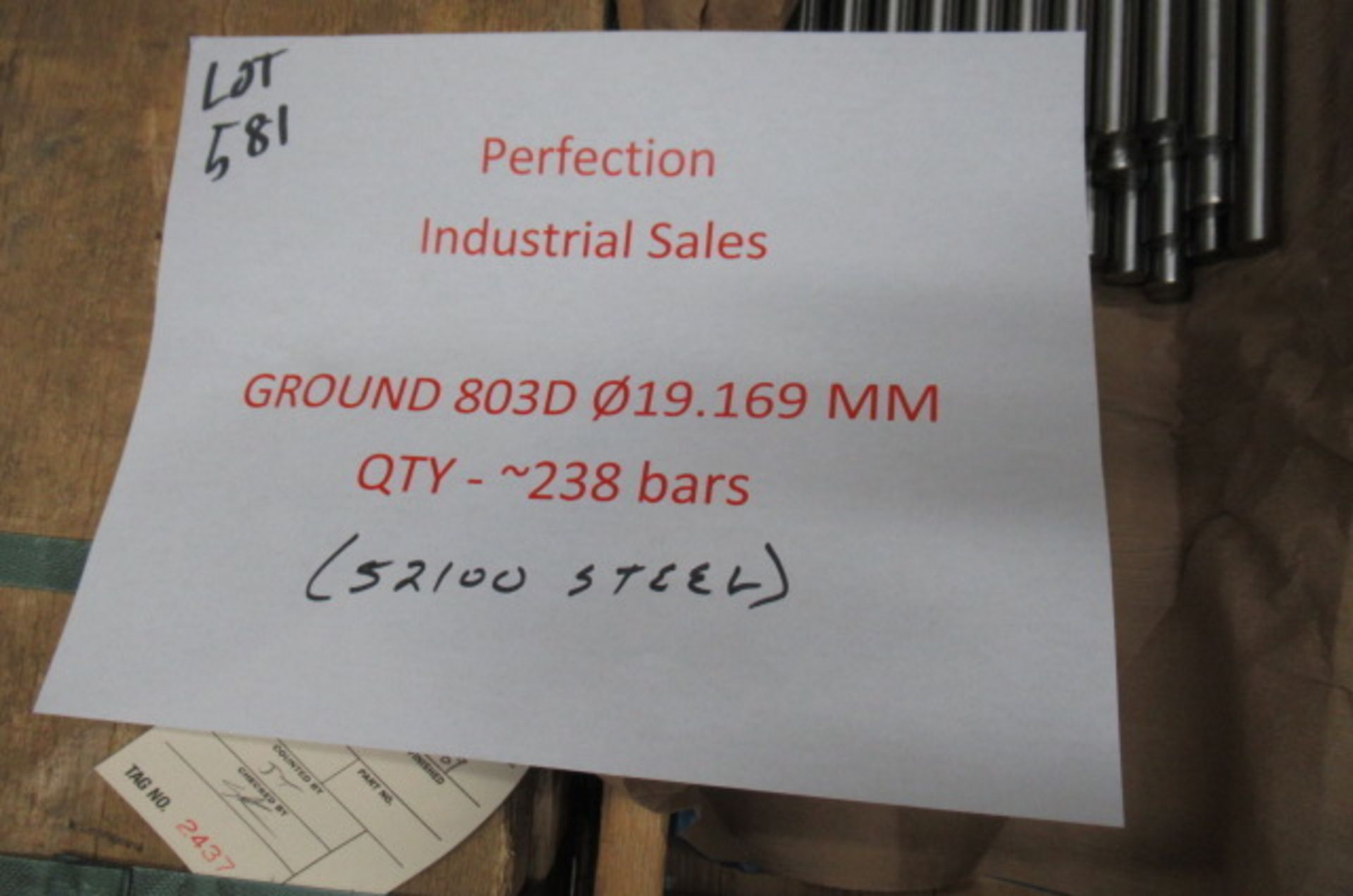 Lot steel round stock 52100 Ground 803D 19.169mm qty 238