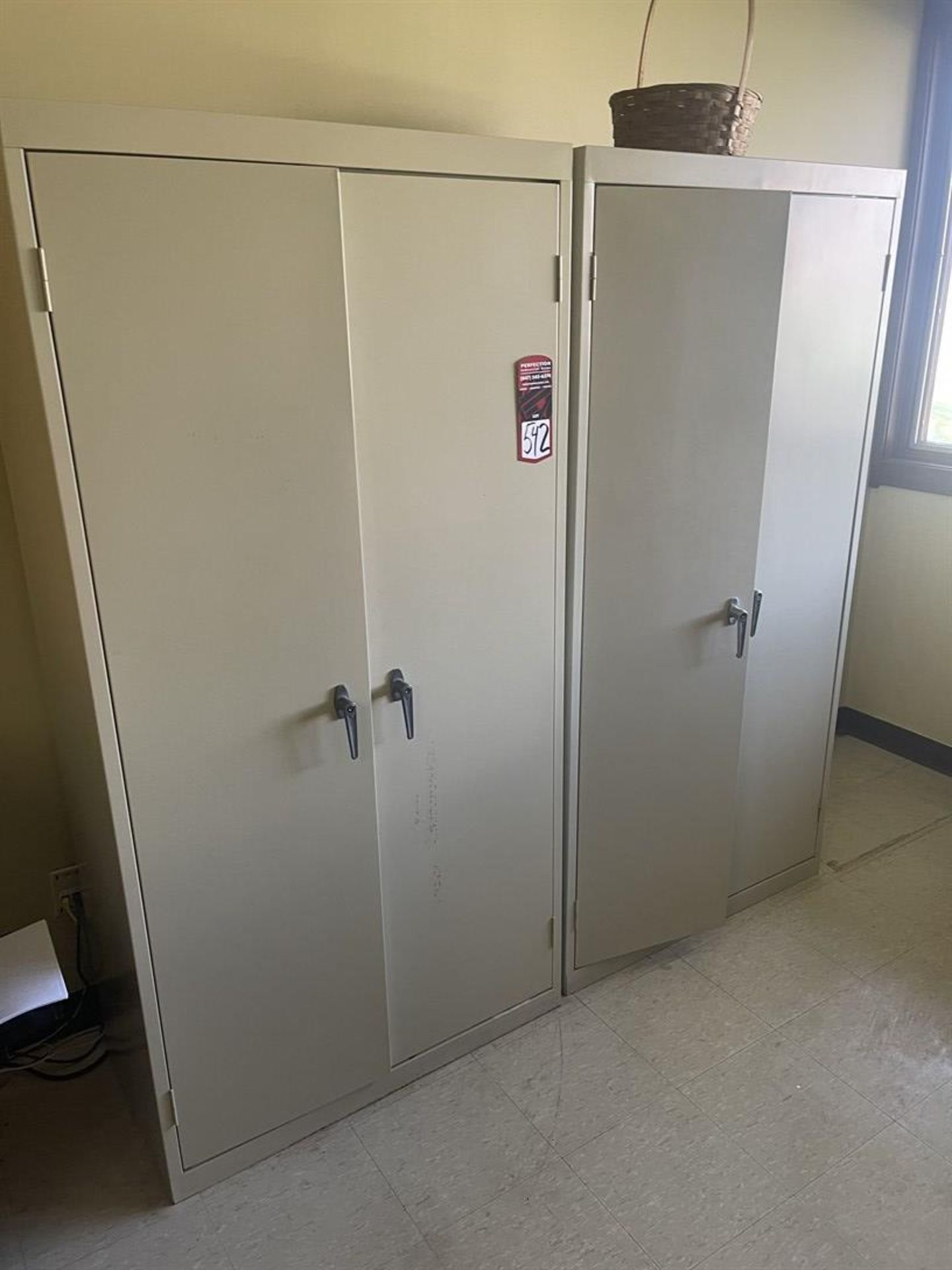 Lot of (2) Shop Cabinets, (1) Containing Assorted Office Supplies