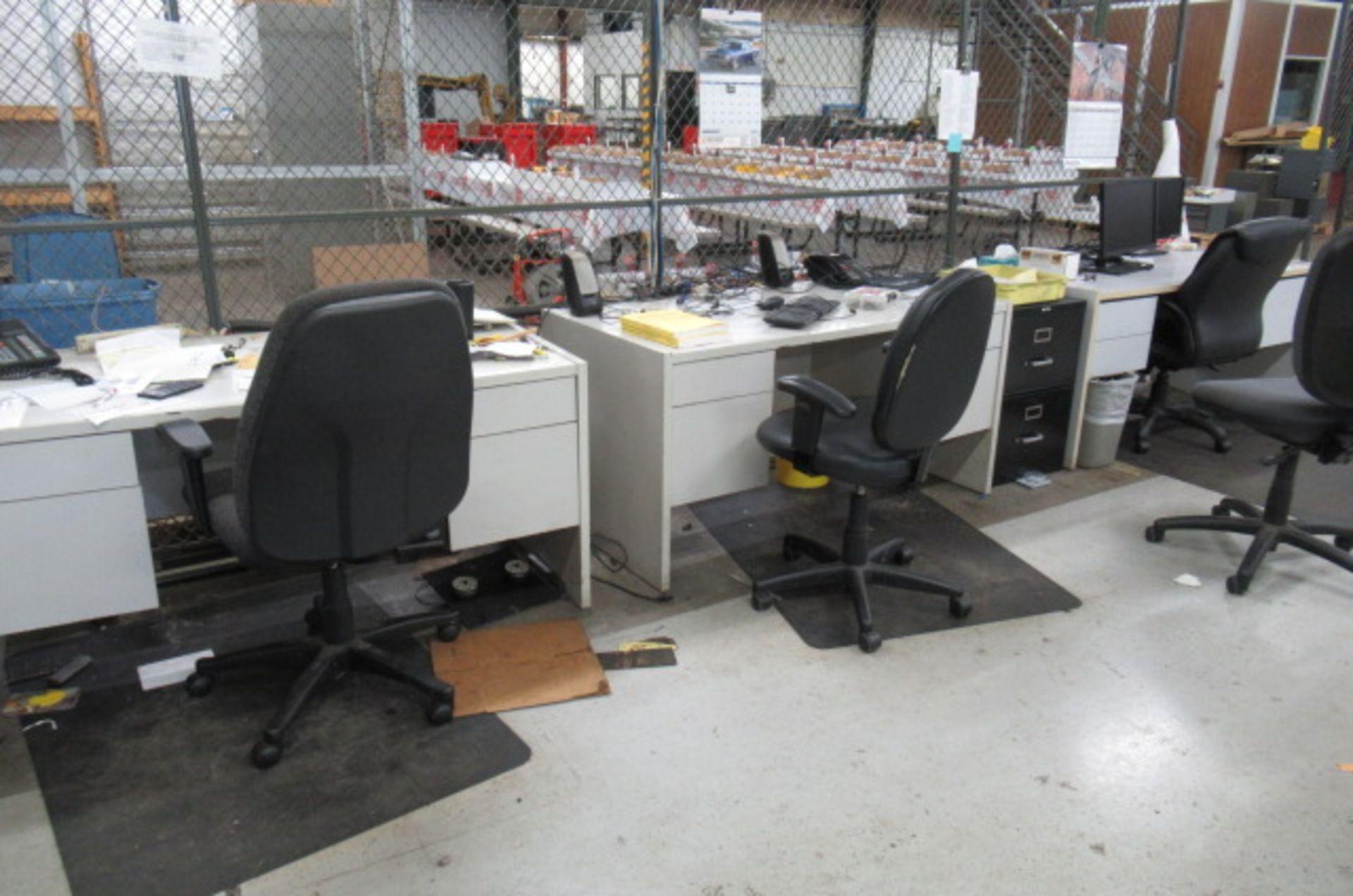 parts cage area 6 desks, 3 file cabinets, 2 Dell monitors, 3 key boards - Image 3 of 4