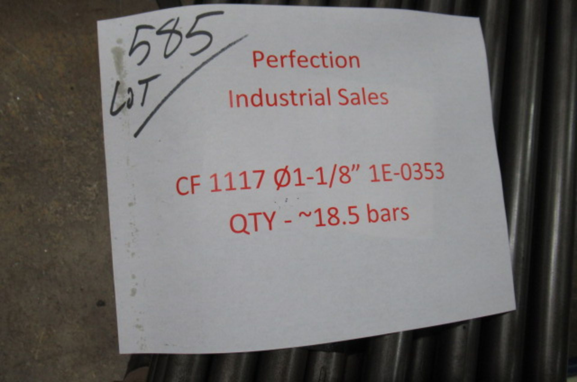 Lot steel round stock CF1117 01.1/8 1E-0353 qty18, CF 1144 .875x cut 72 oal qty4, CF1144 DIA 1.50