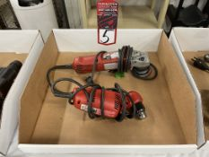 """Lot Comprising MILWAUKEE 6148 Angle Grinder and MILWAUKEE 0375-1 3/8"""" Reversing Drill"""