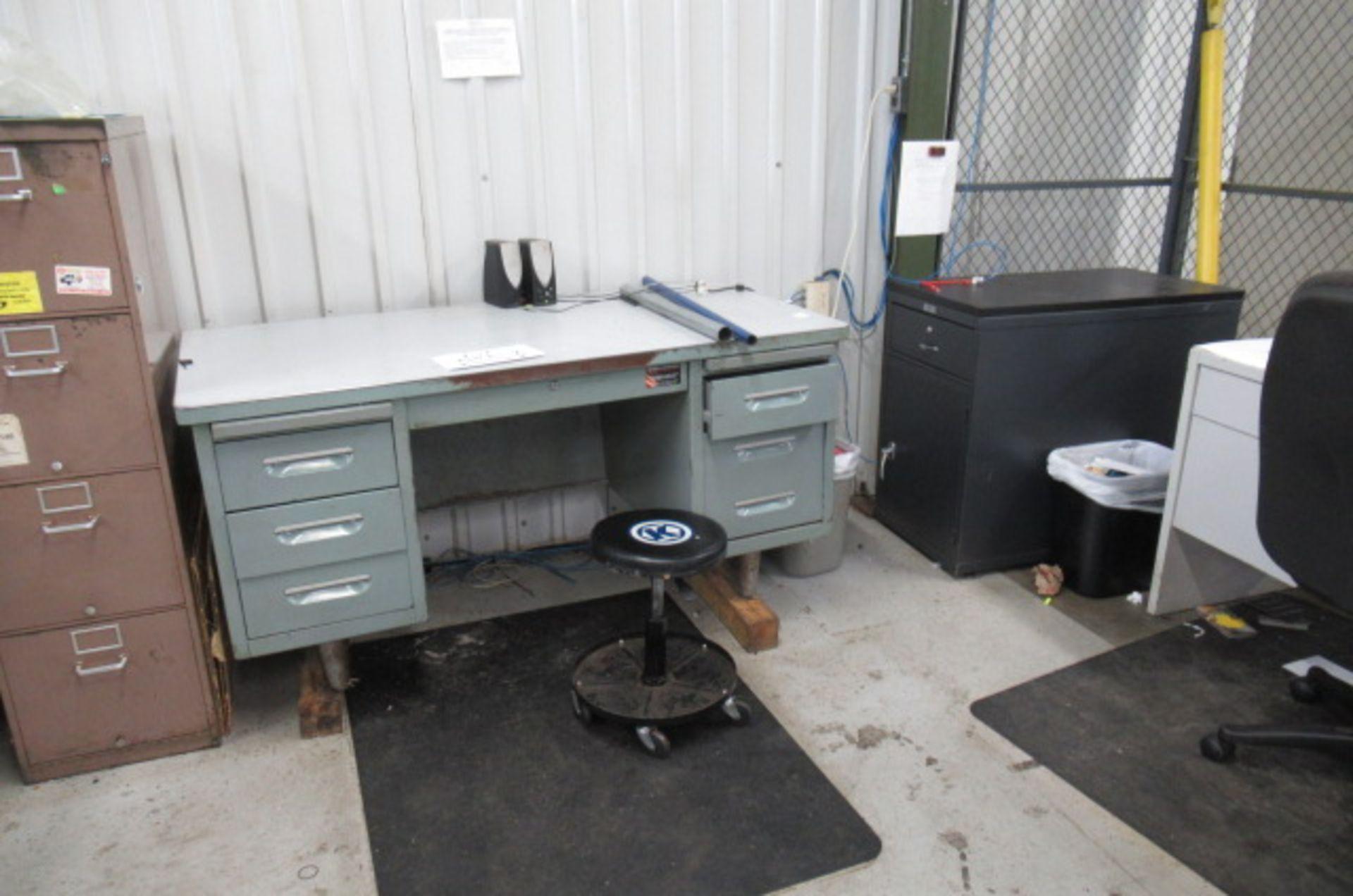 parts cage area 6 desks, 3 file cabinets, 2 Dell monitors, 3 key boards - Image 4 of 4