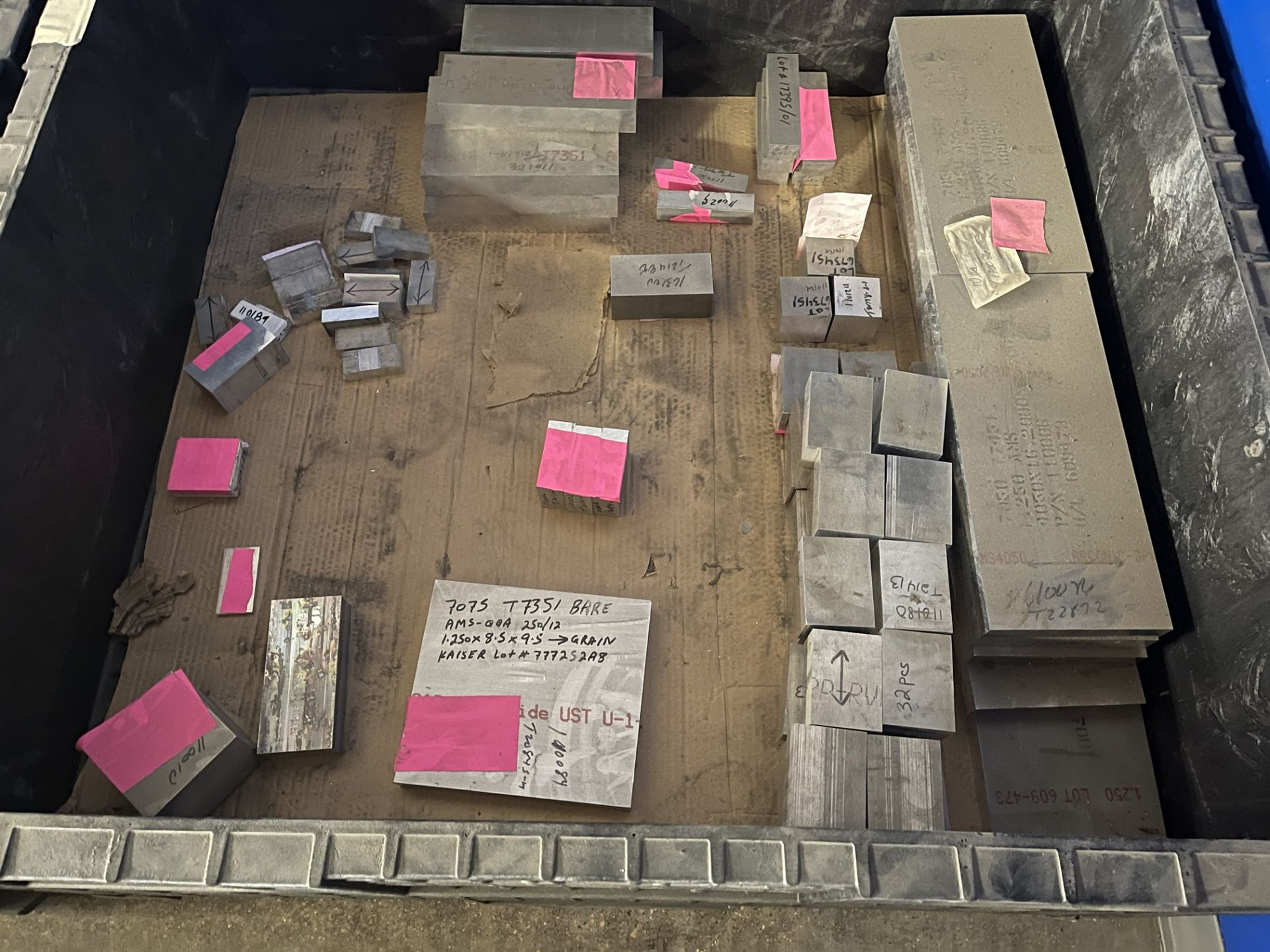 Lot Comprising (2) Collapsible Crates w/ Assorted 6AL-4V AMS4911 Titanium Block and 7075-T73 BMS7- - Image 8 of 8