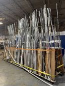 Dual Sided Stock Rack w/ Contents Including Assorted 2024, 6061 and 7075 Aluminum Extrusions and