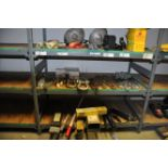 Mixed lot of welding rods, chains, shackles, grease guns, etc.